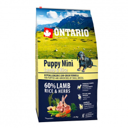 Bar­ība kucēniem - ONTARIO Puppy Mini Lamb & Rice, 6,5 kg