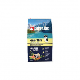 Barī­ba suņiem - ONTARIO Senior Mini Fish & Rice, 6,5 kg