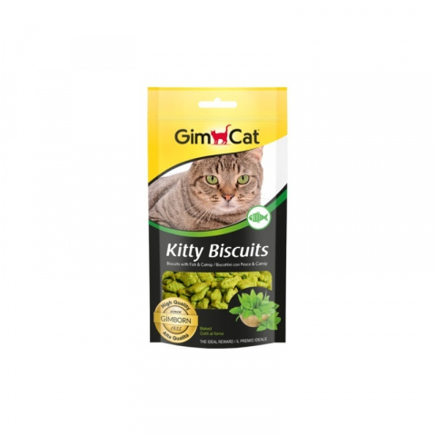 Cepumi kaķiem - GimCat Kitty Biscuits with fish and catnip, 40 g title=