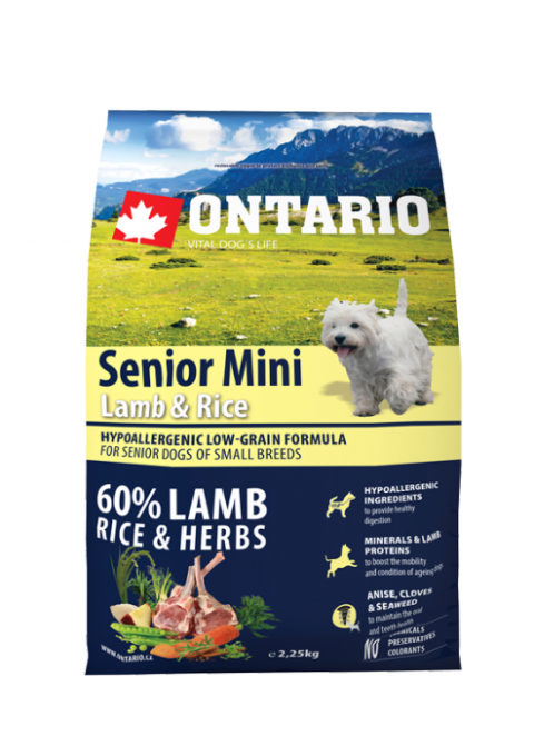 Bar­ība suņiem - ONTARIO Senior Mini Lamb & Rice 6.5kg