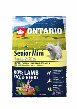 Barība suņiem – ONTARIO Senior Mini Lamb and Rice, 6,5 kg