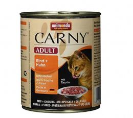 Konservi kaķiem - Carny Adult, ar liellopa un cāļa gaļu, 800 g