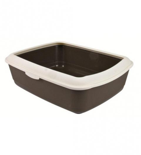 Туалет для кошек - Classic cat litter tray with rim 37*15*47cm, коричневый/кремовый title=