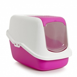Туалет для кошек - Nestor, фуксия - белый, 56*39*38.5cm