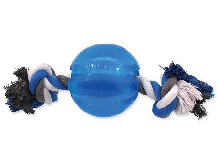 Игрушка для собак - DogFantasy Good's Крепкий резиновый мяч с веревкой, 9.5 см, цвет - синий
