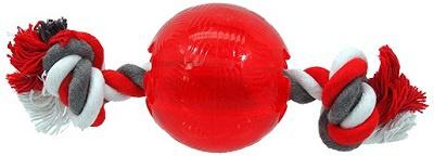 Игрушка для собак - DogFantasy Good's Крепкий резиновый мяч с веревкой, 9.5см, цвет - красный