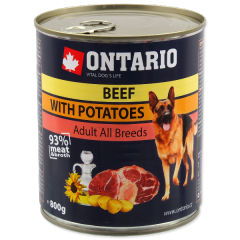 Консервы для собак - Ontario Adult Beef and Potatos, Sunflower Oil, 800 г  title=