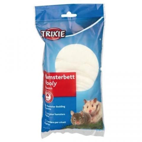 Аксессуар для клетки грызунов - Trixie Wooly for Hamster's bed  / наполнитель для спального места, вата, 20 gr (белый) title=