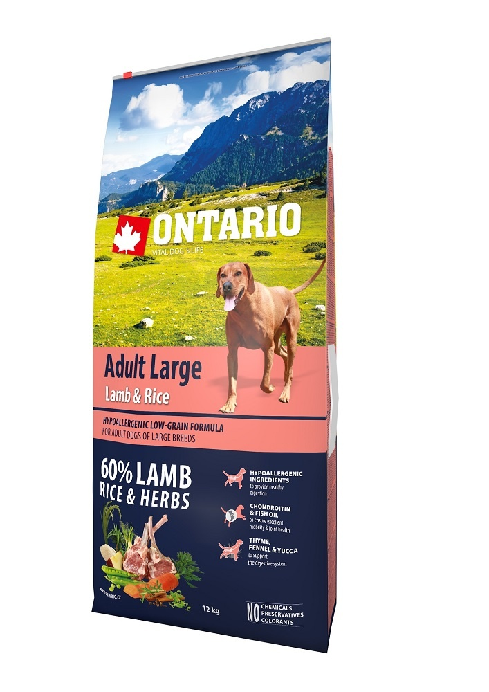 Корм для собак - ONTARIO Adult Large Lamb & Rice, 12 кг