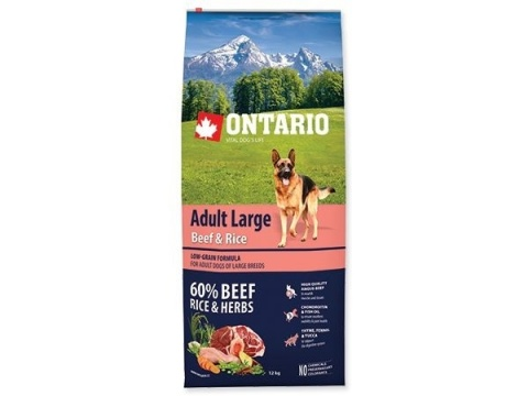 Корм для крупных собак - ONTARIO Adult Large Beef & Rice, 12 кг title=