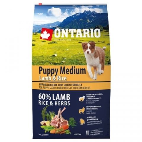 Корм для щенков - ONTARIO Puppy Medium Lamb & Rice, 6,5 кг title=
