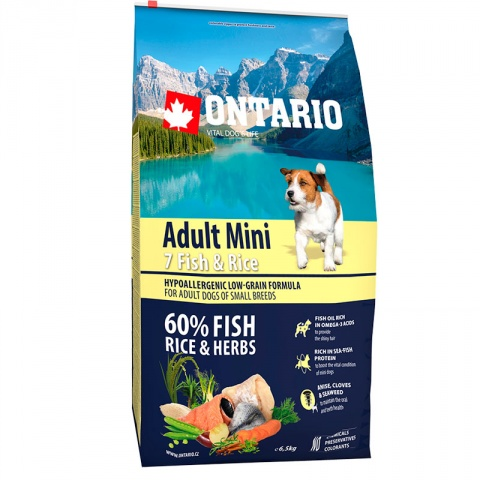 Корм для собак - Ontario Adult Mini Fish and Rice, 6,5 кг title=