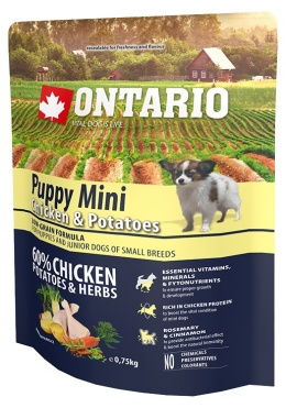 Корм для щенков - Ontario Puppy Mini Chicken and Potatoes, 6,5 кг