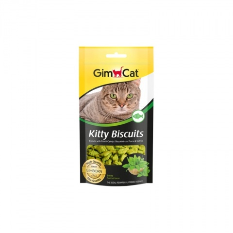Печенье для кошек - GimCat Kitty Biscuits with fish and catnip, 40 г title=