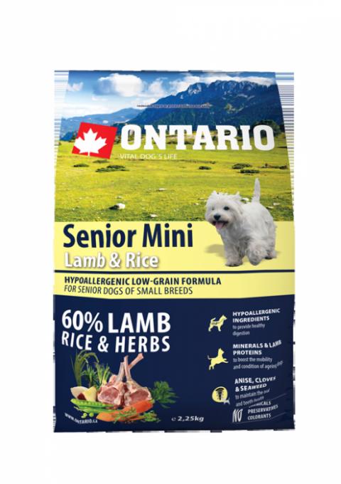 Корм для собак - ONTARIO Senior Mini Lamb & Rice, 6,5 кг title=