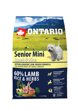 Корм для собак - ONTARIO Senior Mini Lamb & Rice, 6.5 кг