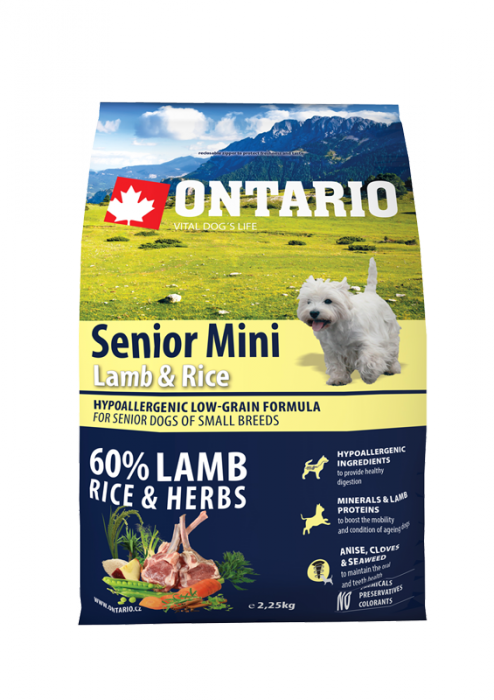 Корм для собак - ONTARIO Senior Mini Lamb & Rice 6.5кг