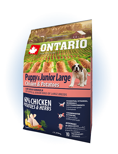 Ontario Puppy & Junior Large Chicken & Potatoes 2,25kg