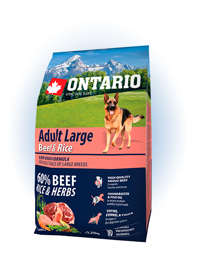 Ontario Adult Large Beef & Rice 2,25kg
