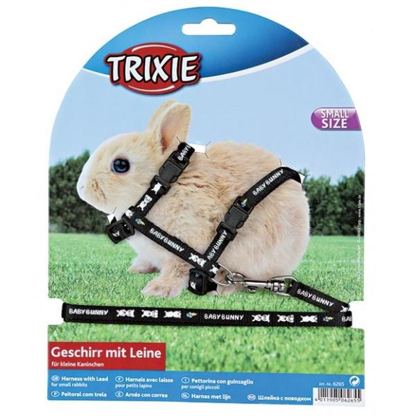Postroj s vodítkem pro králíky trixie 20-33cm*8mm*1,25m