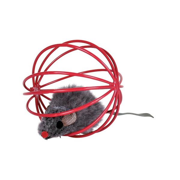 Hračka pro kočky trixie míč s myší 6cm