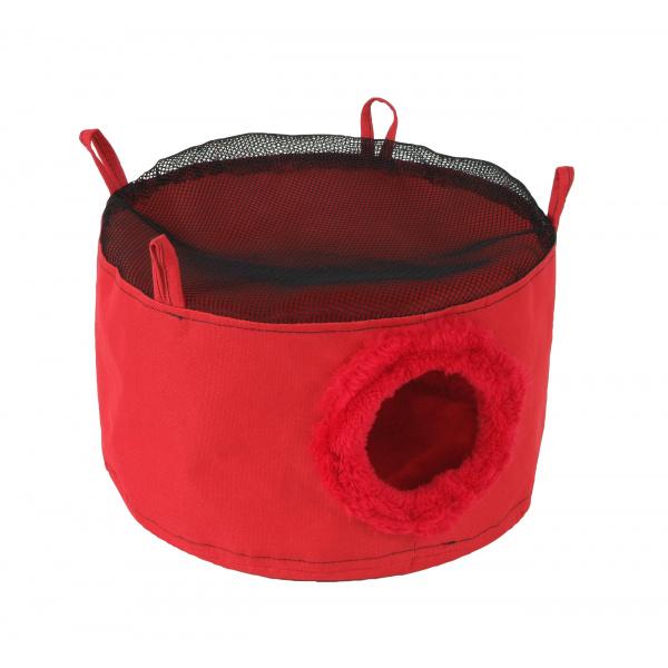 Domeček závěsný červený pro fretky