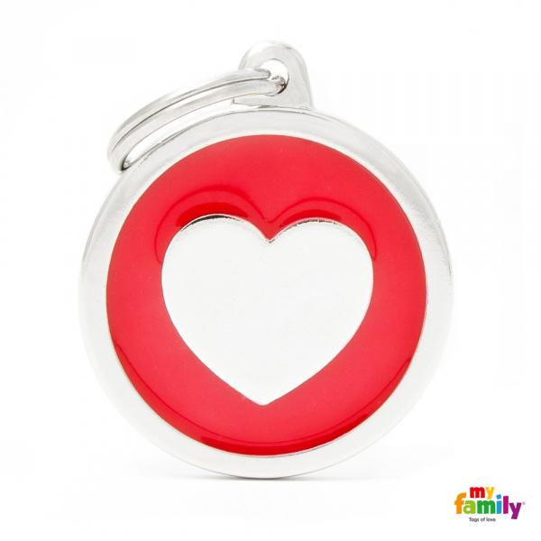 Známka My Family Classic kolečko se srdcem velké červené