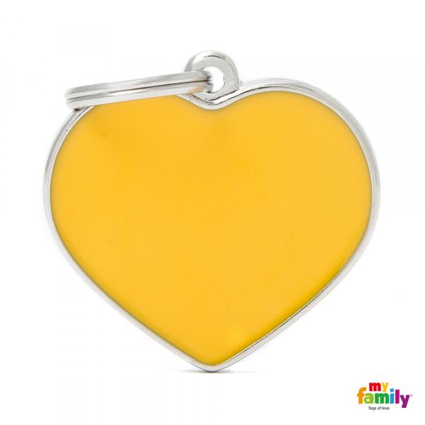 Známka My Family Basic Handmade srdce velké žluté