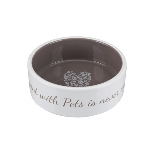 Miska keramická pets home 12cm krémová/hnědá 0,3l