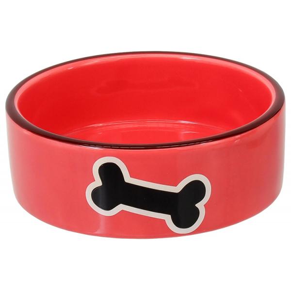 Miska dog fantasy keramická potisk kost červená 12,5x4,5cm 0,29l