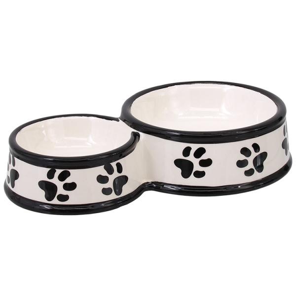Dvojmiska dog fantasy keramická potisk tlapka bílá 25x15,5x5,5cm 0,42l
