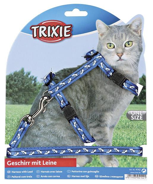 Postroj s vodítkem pro kočky nastavitelný trixie 27-46cm * 10mm * 1,2m