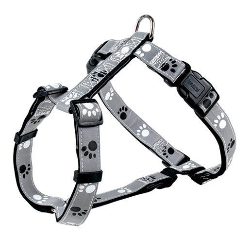 Postroj pro psy Trixie reflexní M-L šedo-černá s potiskem tlapek 50-75cm*25mm