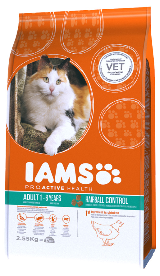 IAMS Hairball Control rich in Chicken 2,55kg