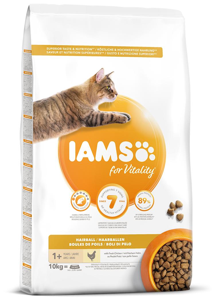 IAMS Cat Adult Hairball Reduction Chicken 10kg + kachní kostky ZDARMA