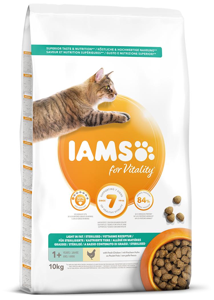 IAMS Cat Adult Weight Control Chicken 10kg + kuřecí kostky ZDARMA