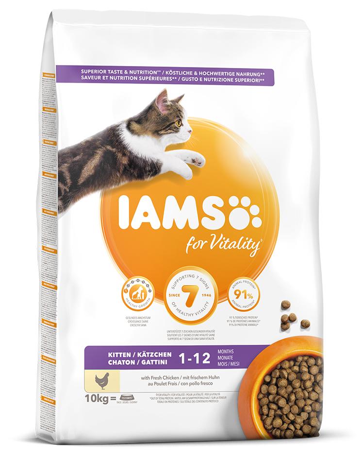 IAMS Cat Kitten Chicken 10kg + kachní kostky ZDARMA