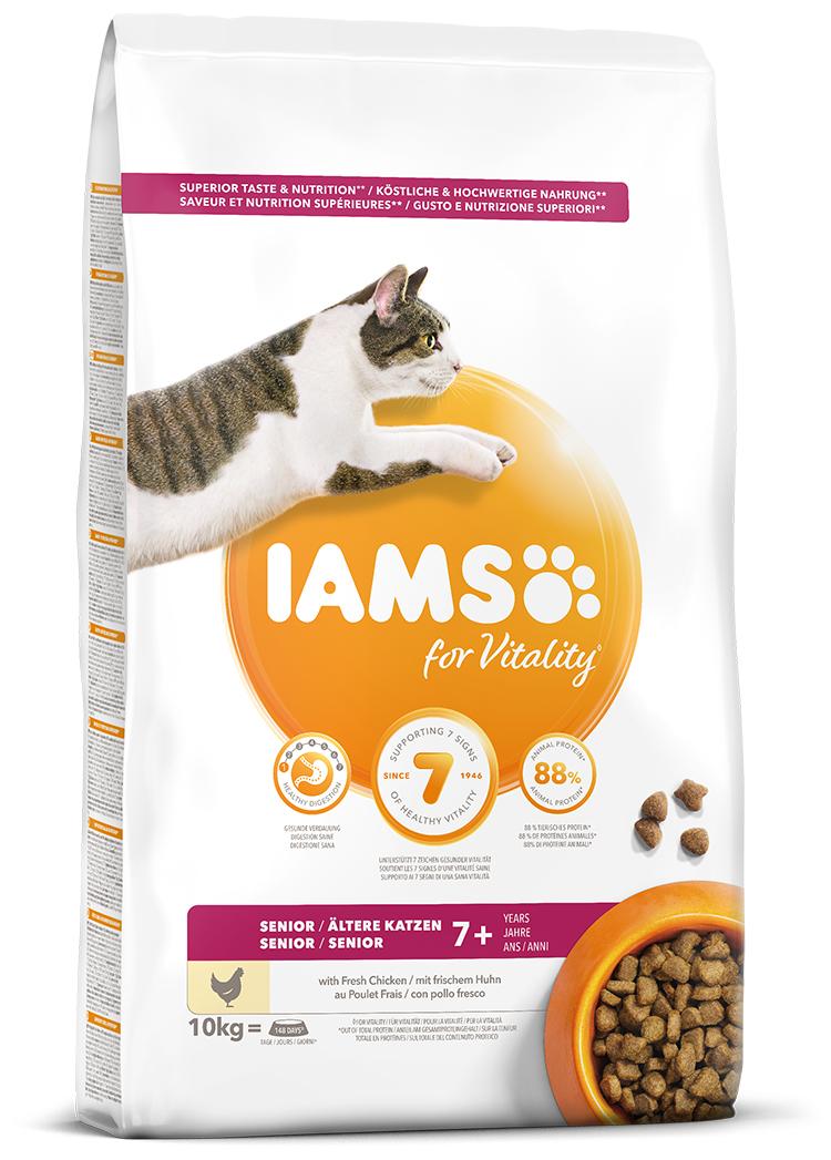 IAMS Cat Senior Chicken 10kg + kuřecí kostky ZDARMA