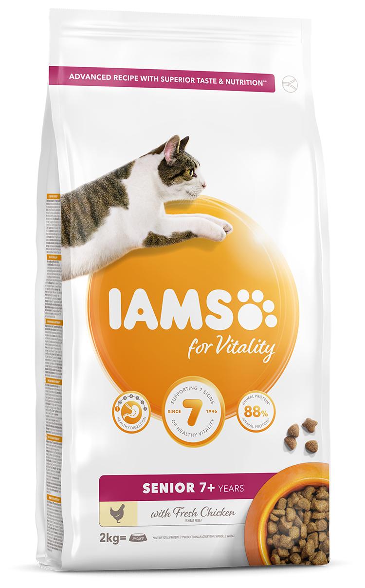 IAMS Cat Senior Chicken 2kg + kuřecí kostky ZDARMA