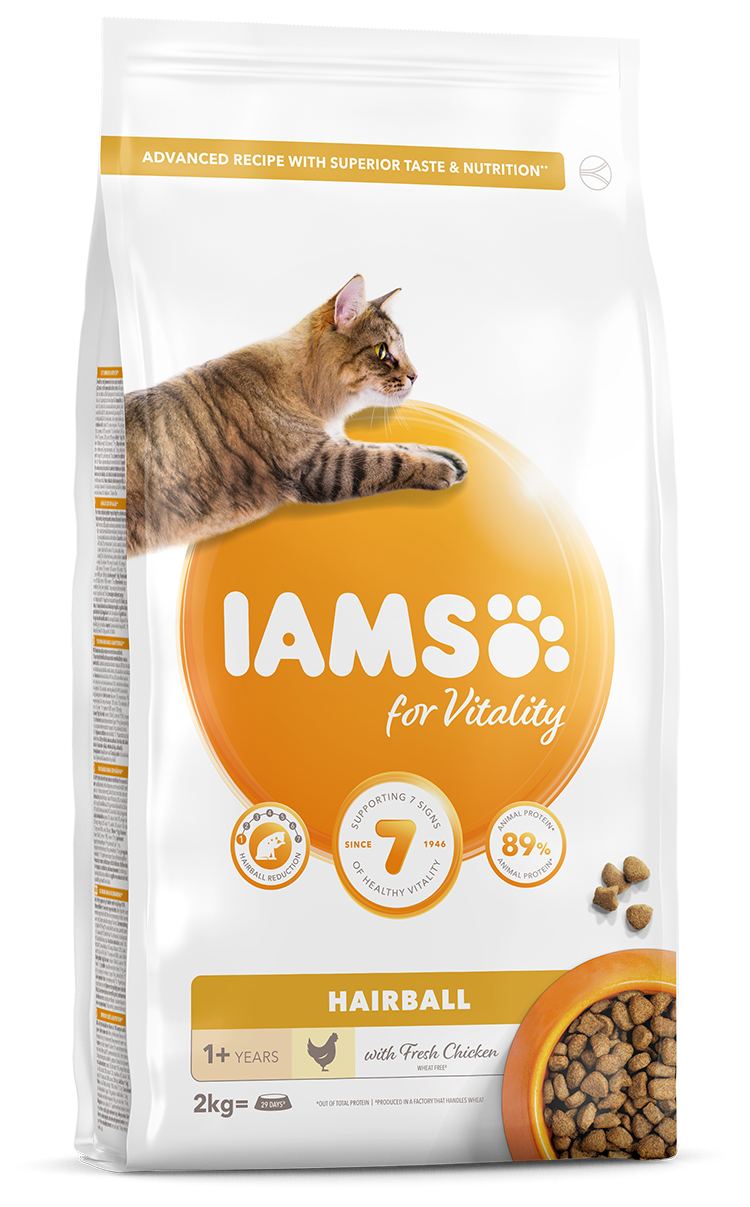 IAMS Cat Adult Hairball Reduction Chicken 2kg + kachní kostky ZDARMA