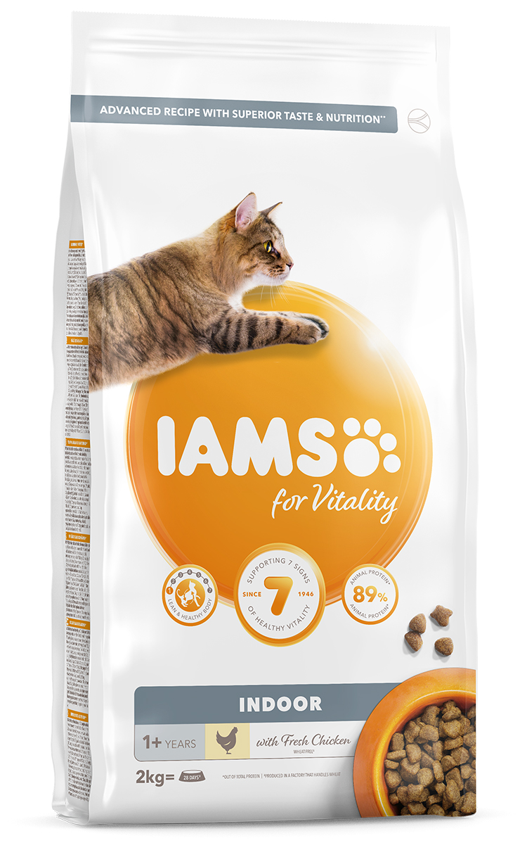IAMS Cat Adult Indoor Chicken 2kg + kuřecí kostky ZDARMA